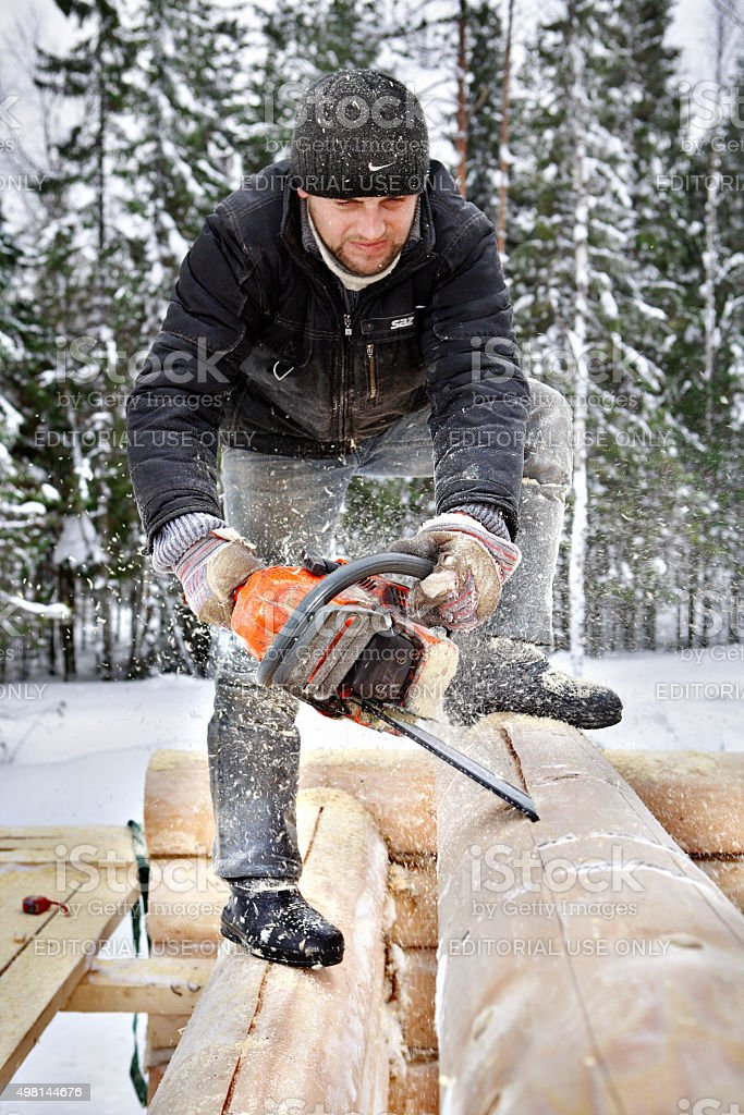 Carpenter builds wooden house made of logs, using chainsaw. stock photo