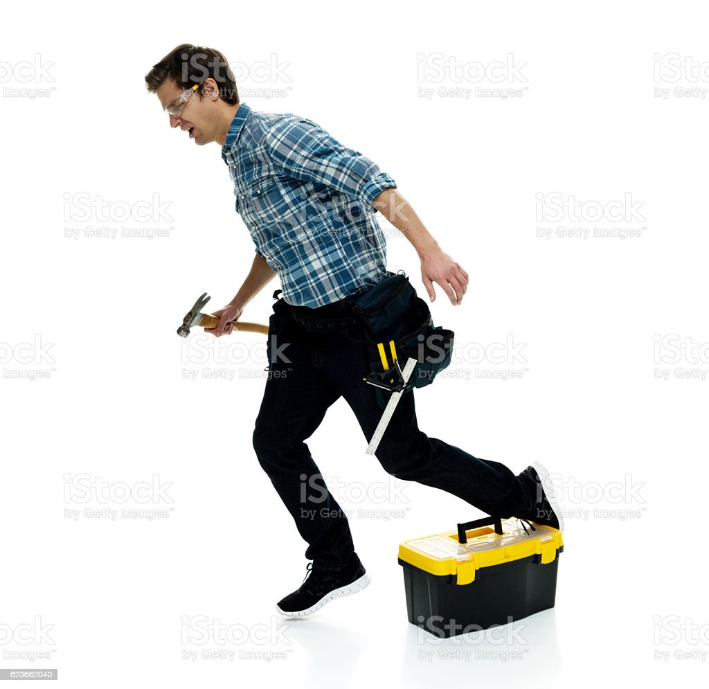 Carpenter falling stock photo