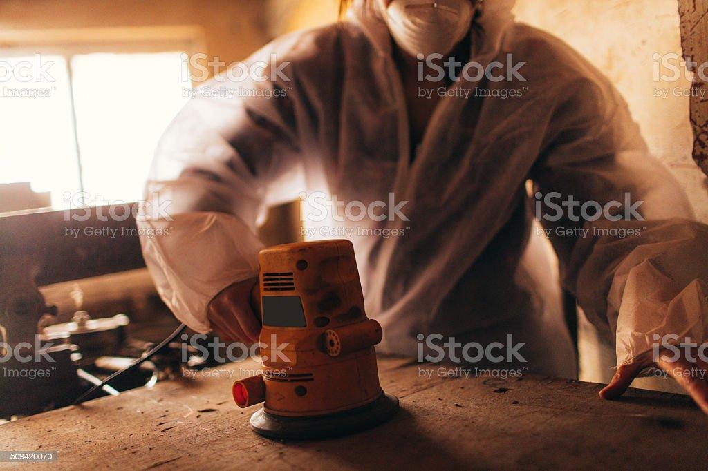 Carpenter girl stock photo