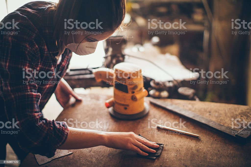 Carpenter girl stock photo