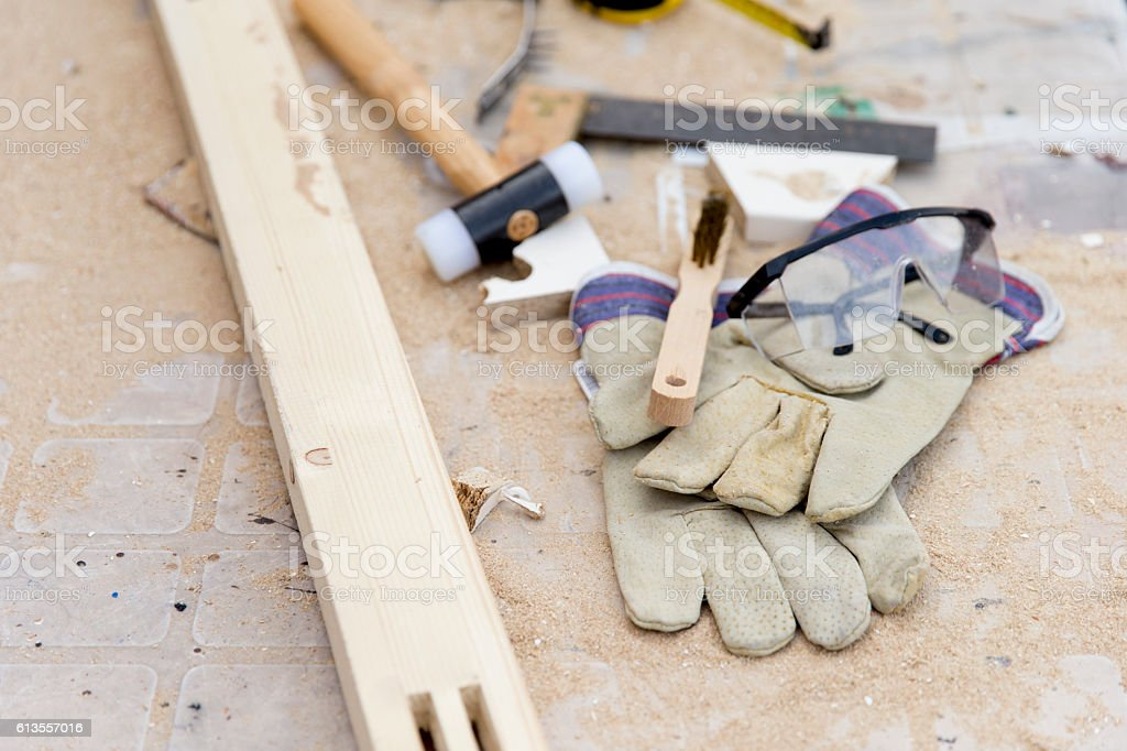 Carpenter instruments and wood board stock photo