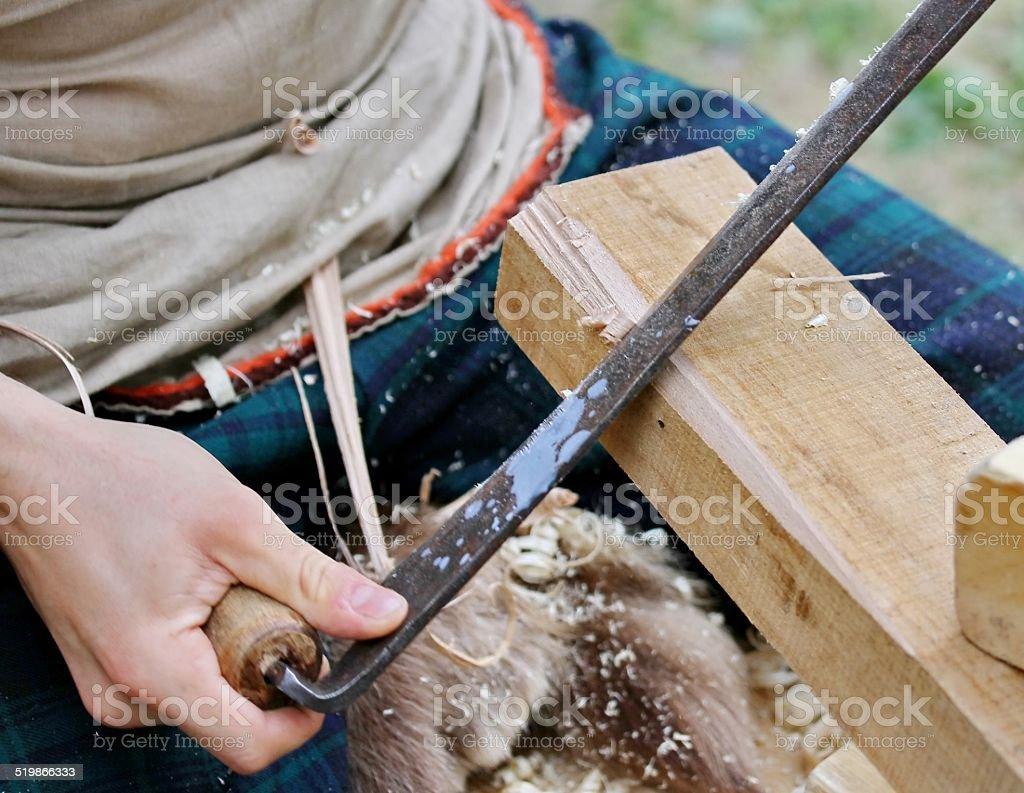 Carpenter job a piece of wood stock photo