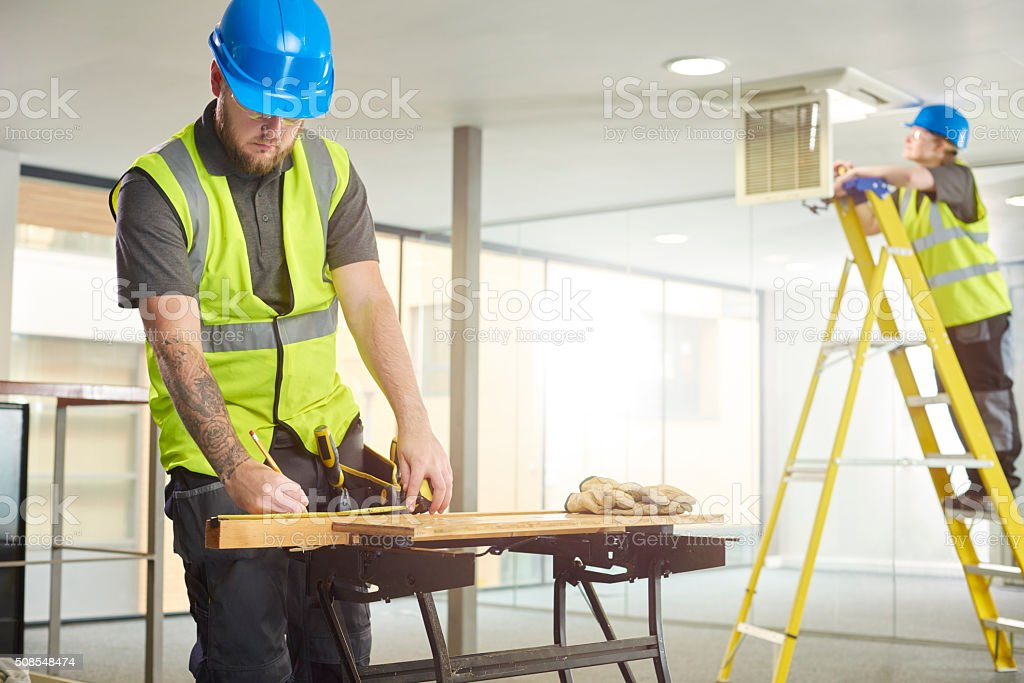 carpenter office remodelling stock photo