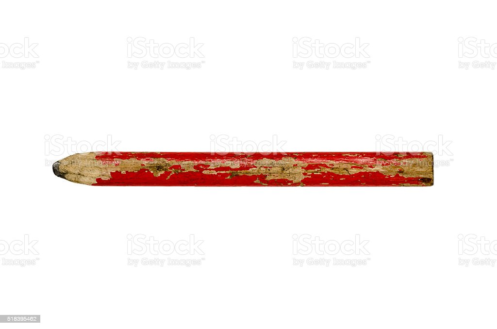 Carpenter pencil isolated with clipping path stock photo