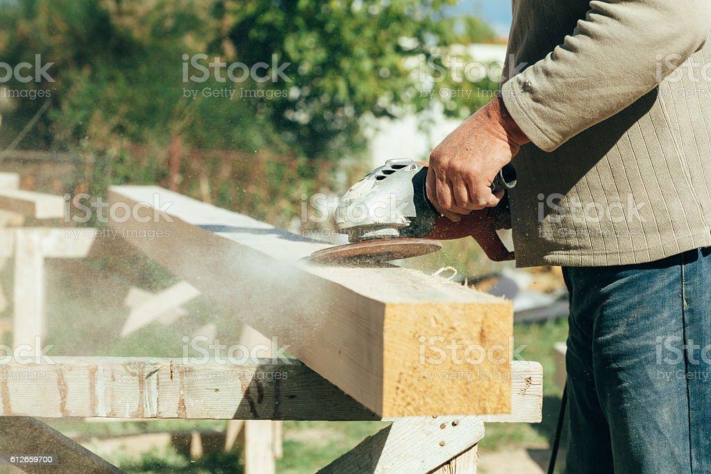 Carpenter processed wood stock photo