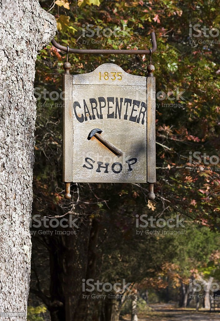 Carpenter Shop Sign royalty-free stock photo