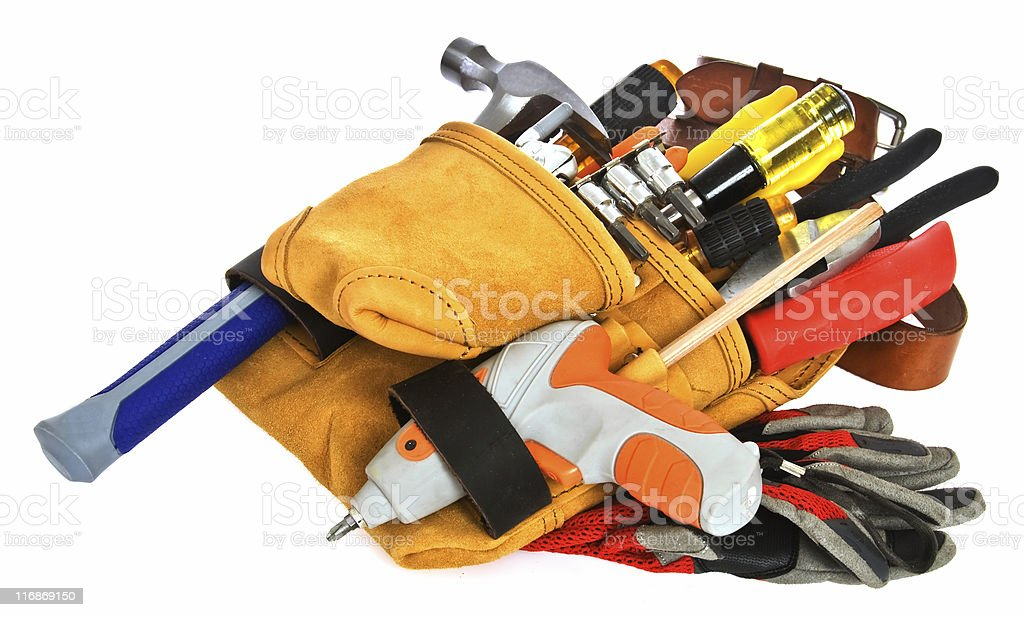 Carpenter Tool Belt and Tools; Isolated on White royalty-free stock photo