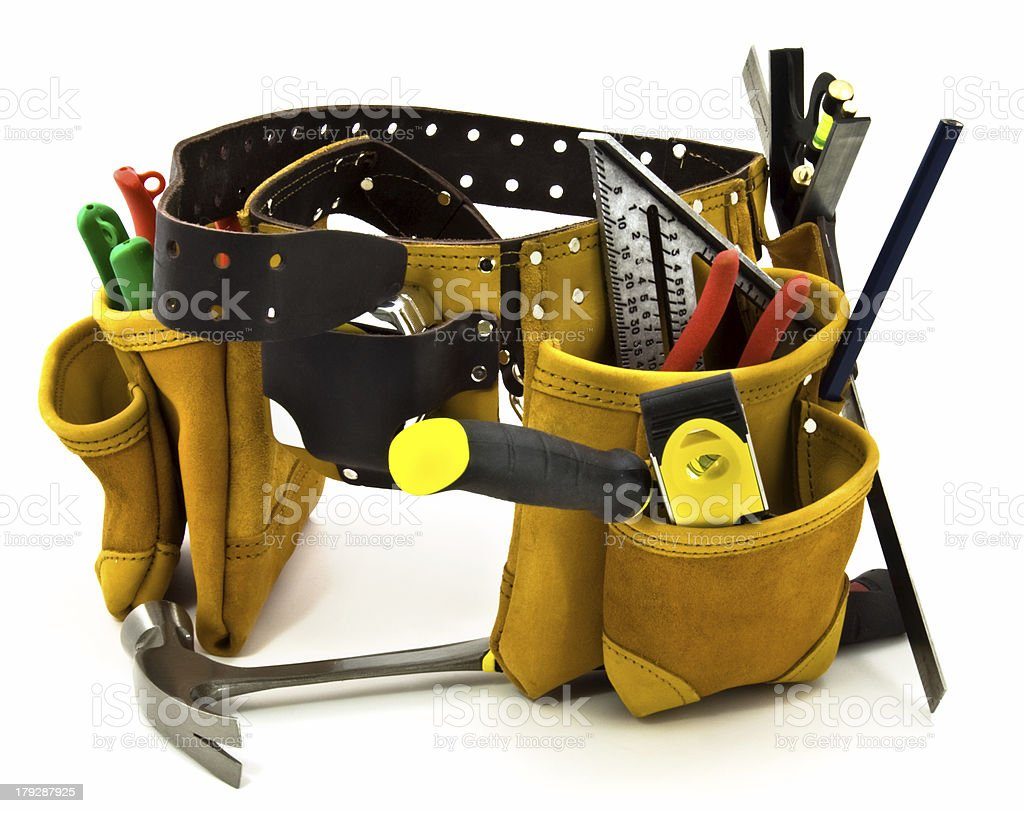 Carpenter Tool Belt and Tools; Isolated on White stock photo