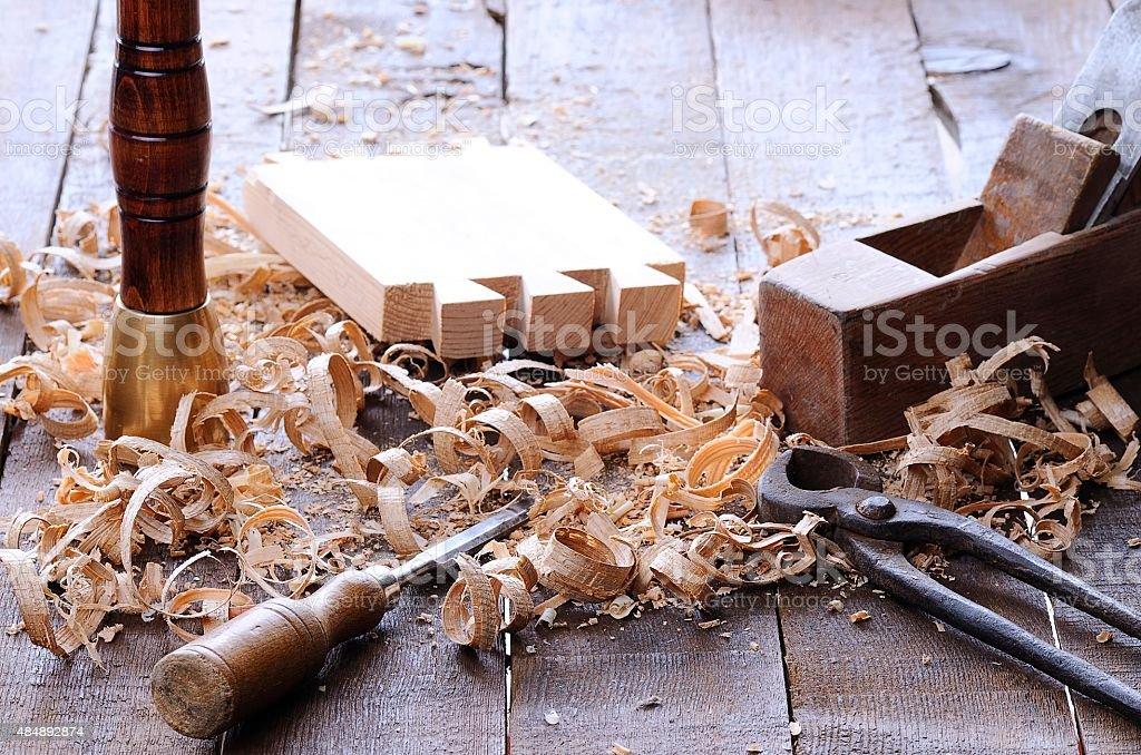 Carpenter tools. stock photo