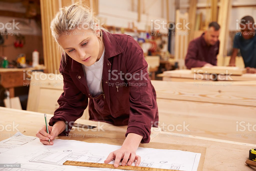 Carpenter With Apprentice Looking At Plans In Workshop stock photo