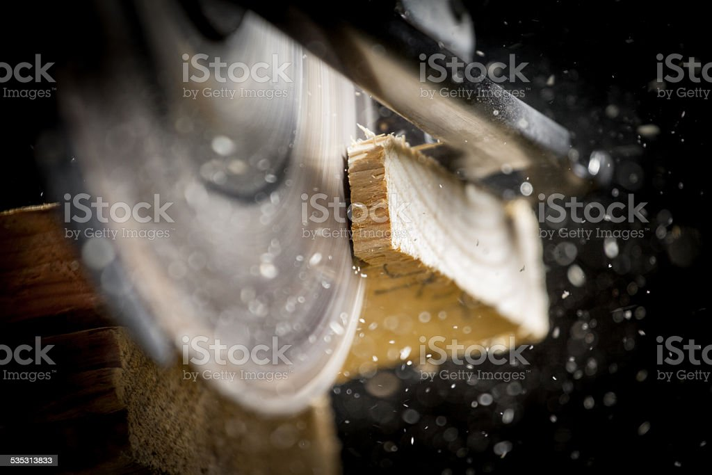 Carpenter with Circular Saw stock photo