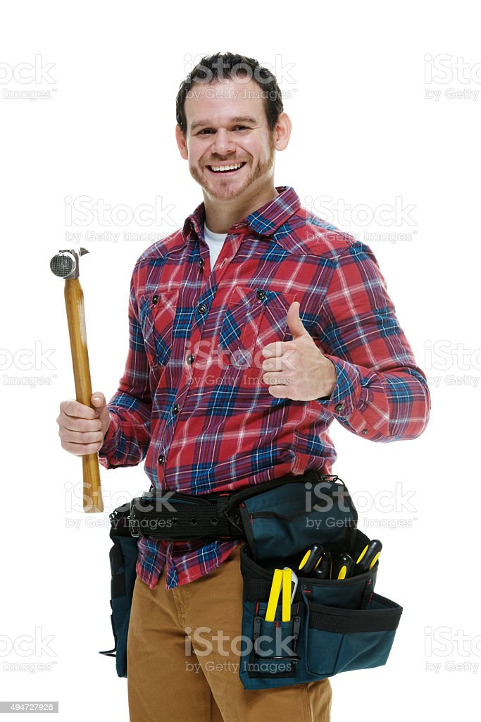 Carpenter with his tools stock photo