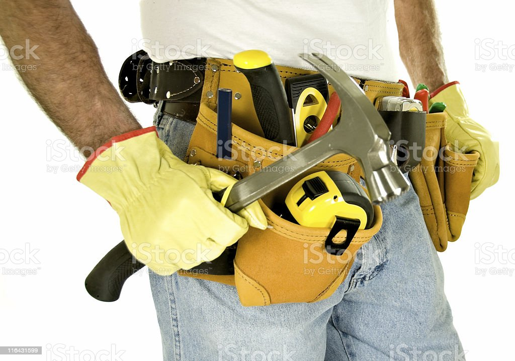 Carpenter with Professional Toolbelt royalty-free stock photo