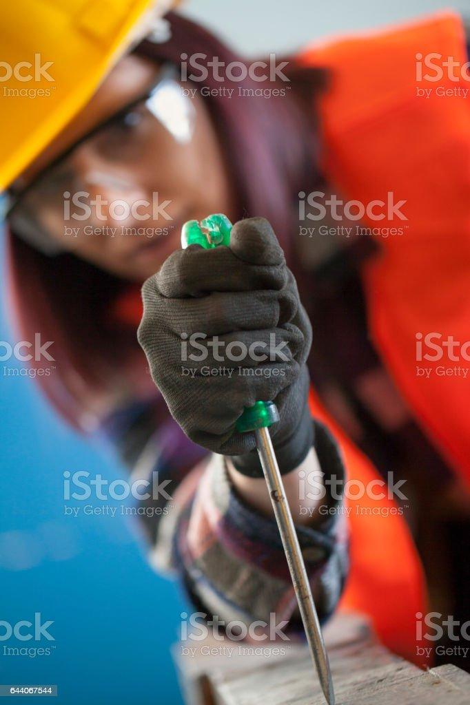 Carpenter woman stock photo