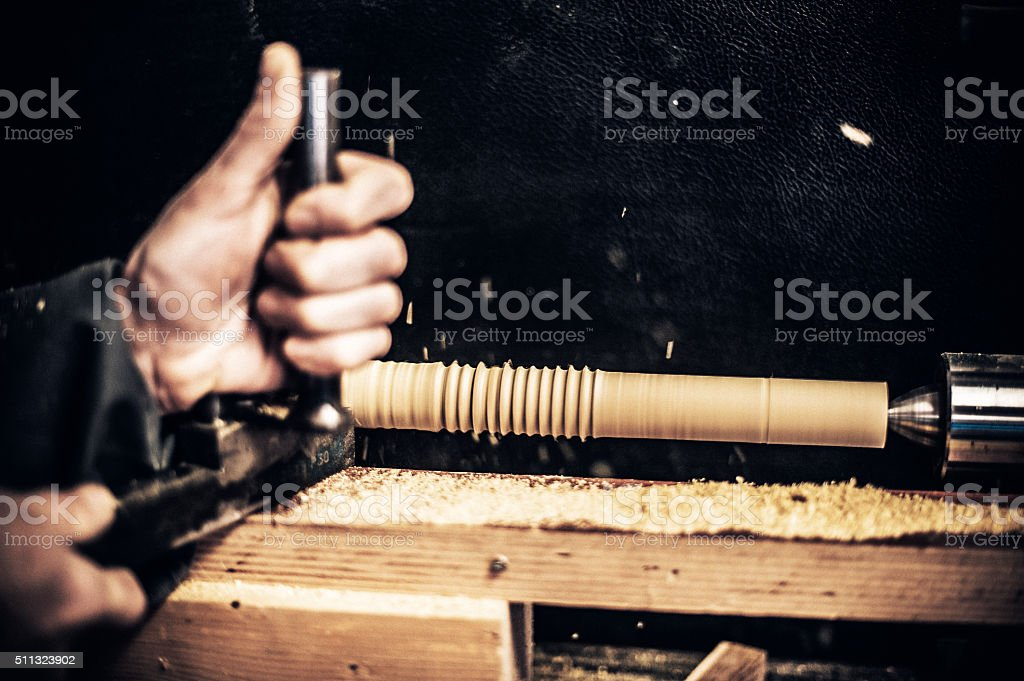 Carpenter Working on Woodturner, Copy Space stock photo