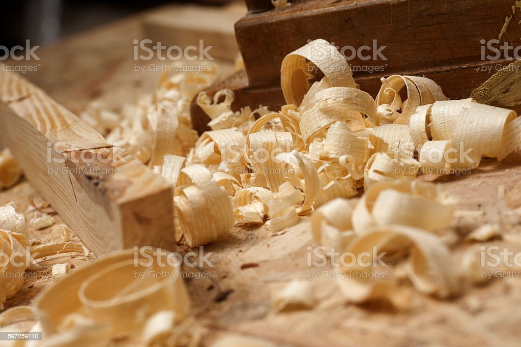 Carpenter working. tools on wooden table with sawdust. stock photo