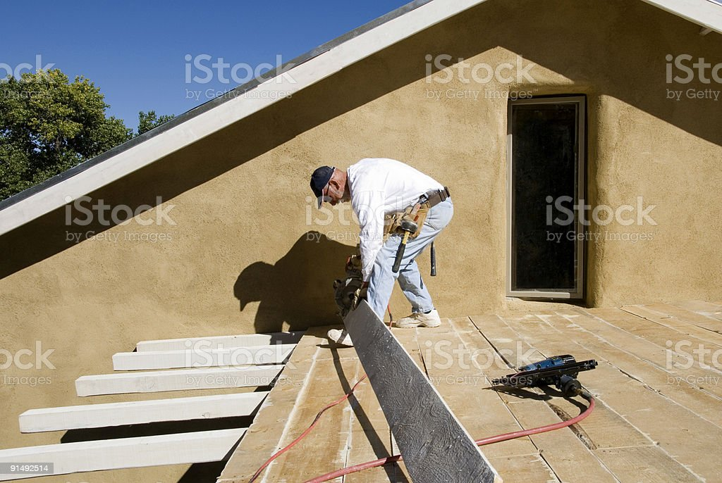 Carpenter Working with Power Tools royalty-free stock photo