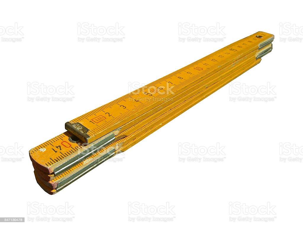 Carpenter's Folding Ruler (Yellow) Isolated stock photo