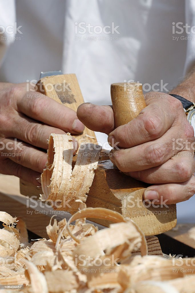 Carpenter's hands royalty-free stock photo