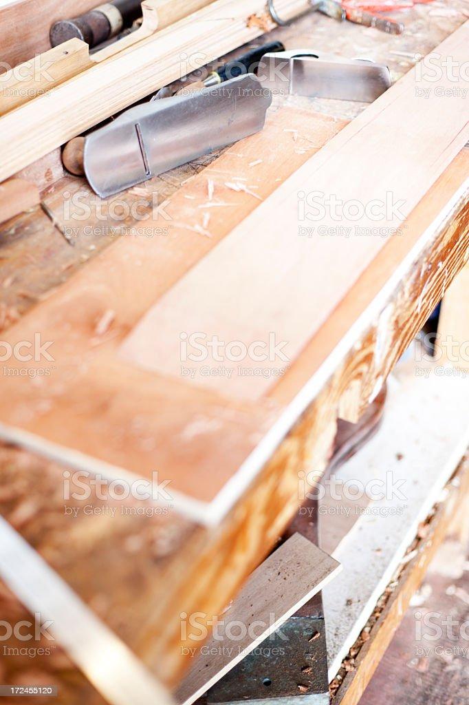 Carpenter's workbench stock photo