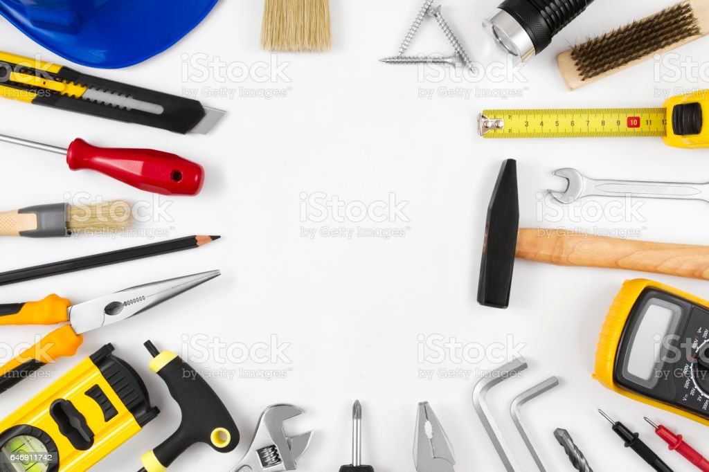 Carpentry and Work Tools with Copy Space stock photo