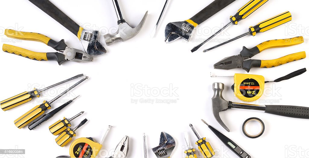 Carpentry, construction tools collage background. stock photo