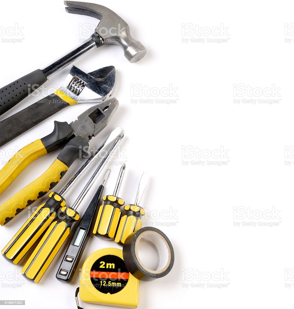 carpentry construction tools collage background stock photo