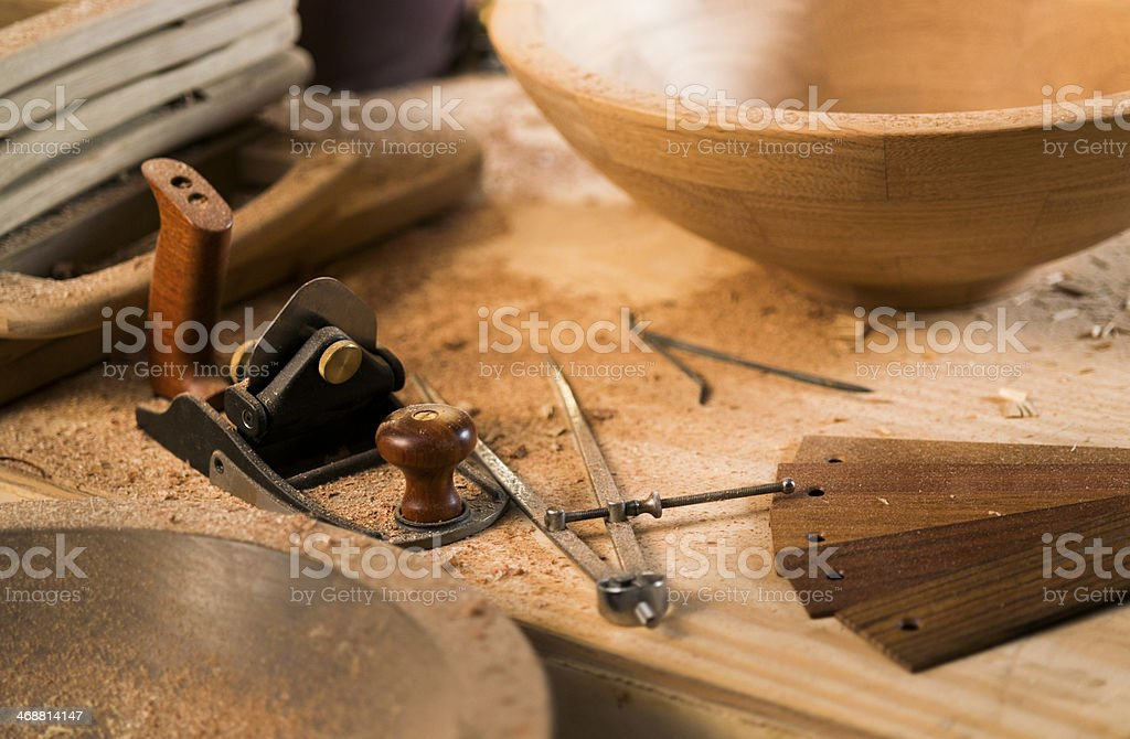 Carpentry Manufacture Workshop. Tools. Shaver. Wood Samples. stock photo