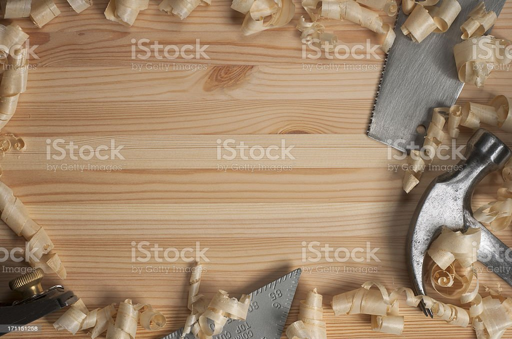Carpentry on Pine Four Tools royalty-free stock photo