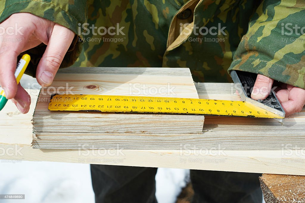 Carpentry. Partitioning boards stock photo