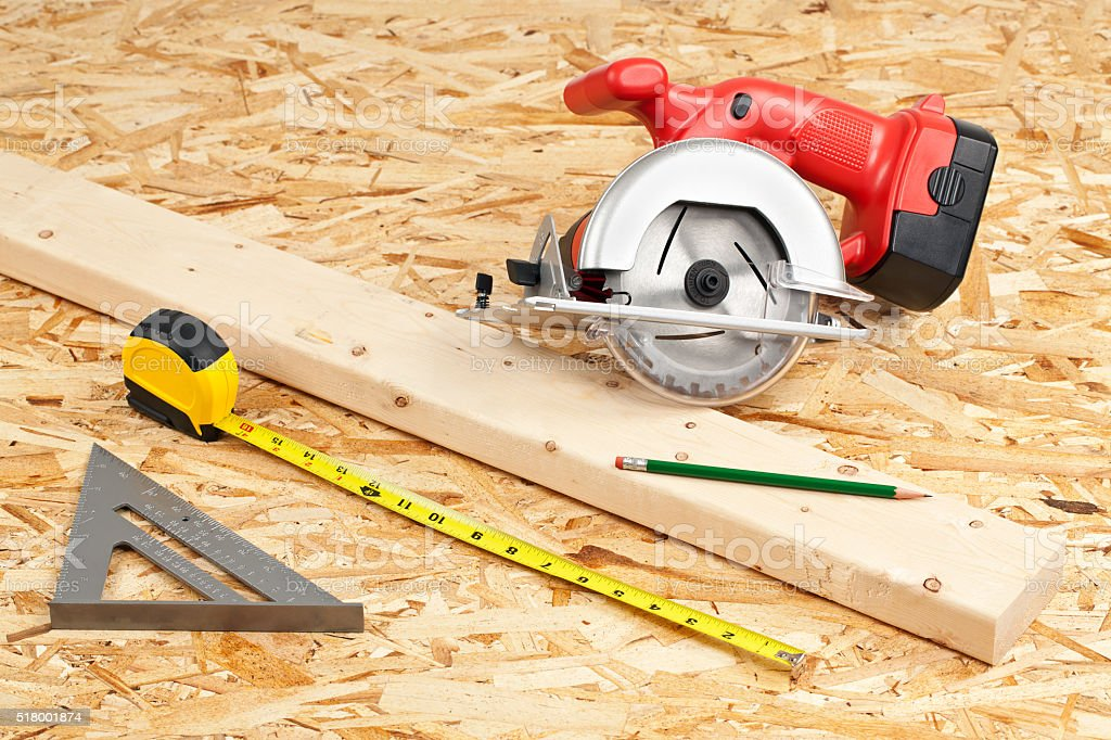 Carpentry Project Tools stock photo