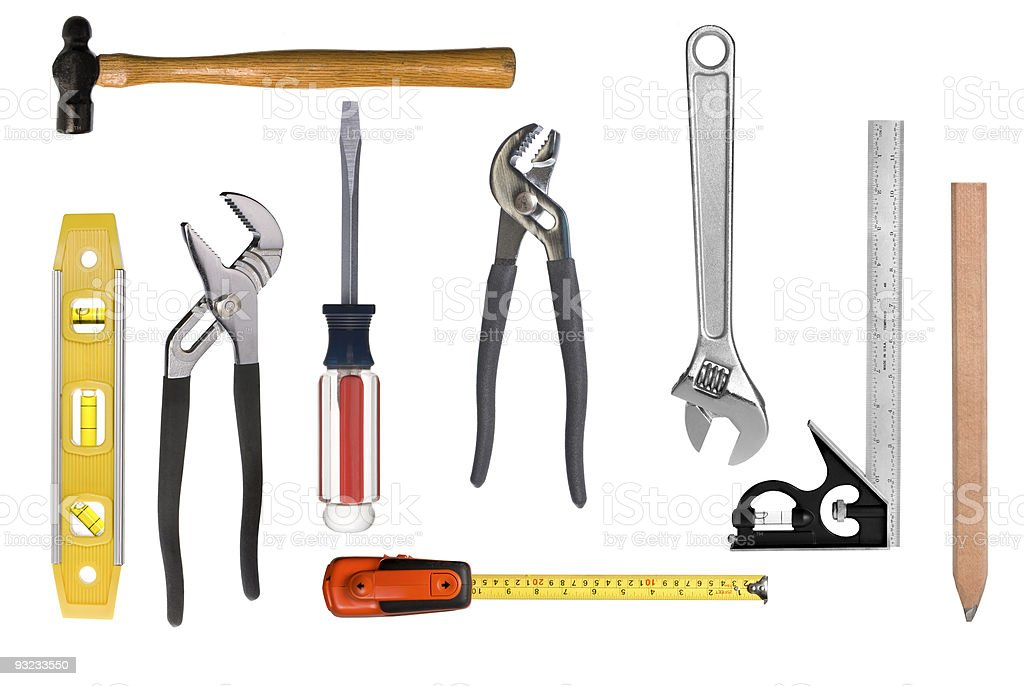 Carpentry tool montage royalty-free stock photo