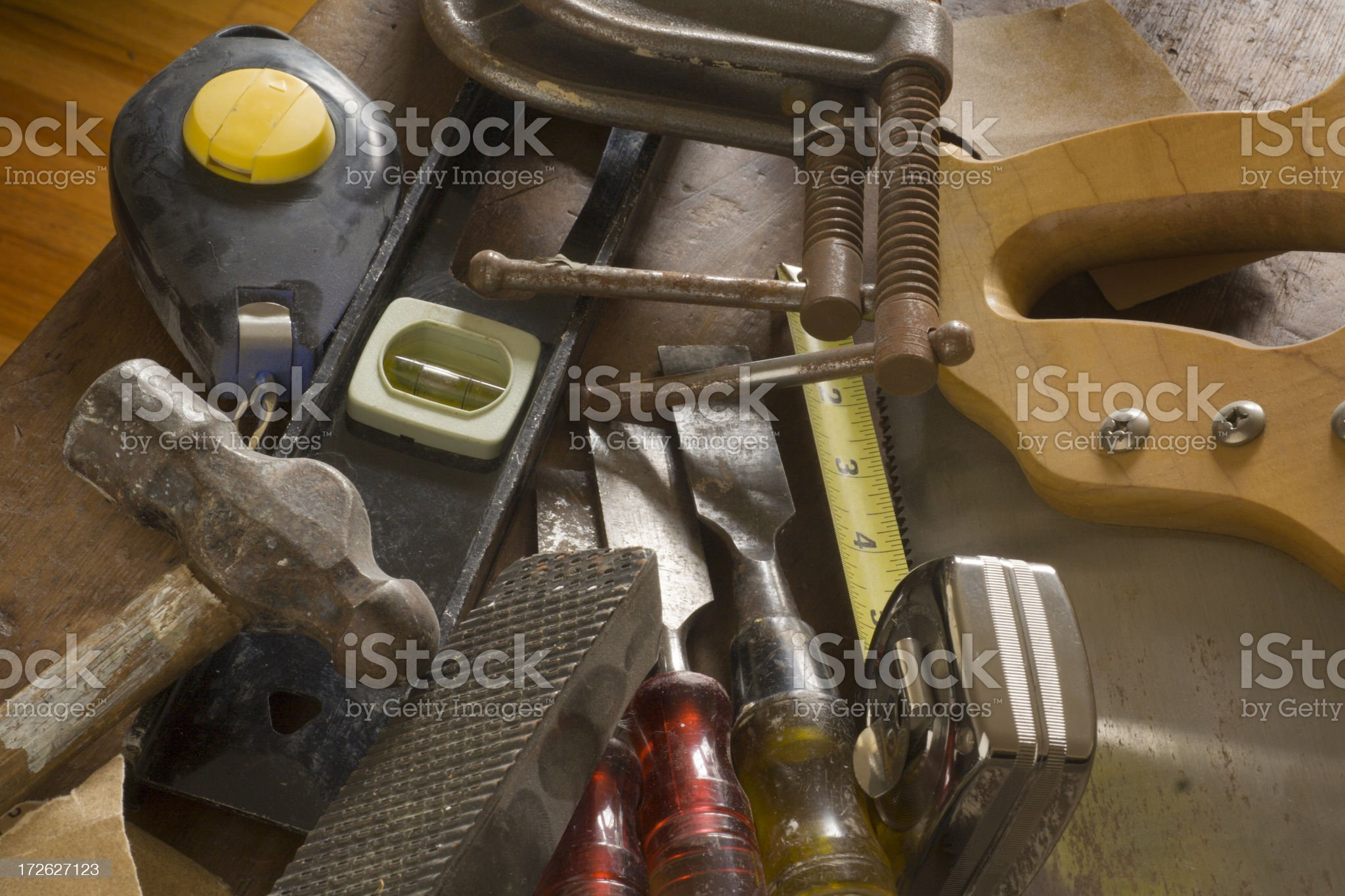 Carpentry Tools, Construction Work Hardware Equipment with Saw, Planer, Plubline royalty-free stock photo