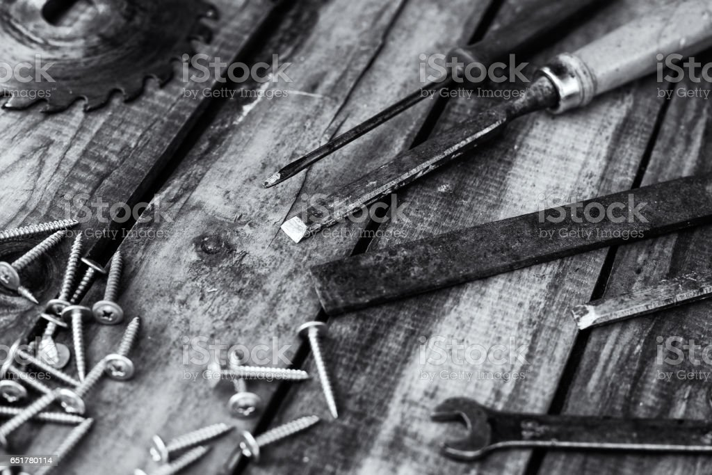 carpentry tools on the boards stock photo