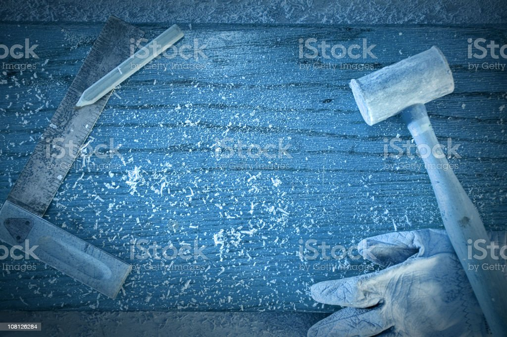 Carpentry Tools on Wood Background, Toned royalty-free stock photo