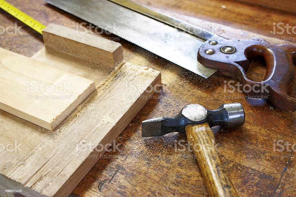 Carpentry Tools On Wooden Bench stock photo