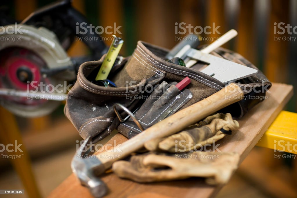 Carpentry Tools On Wooden Plank. stock photo