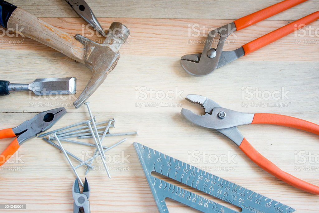 Carpentry Tools, Wood Work Bench, Copy Space, Full Frame Closeup stock photo