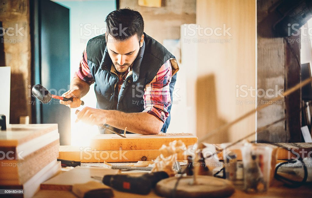 Carpentry work. stock photo