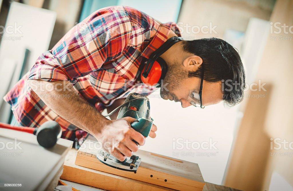 Carpentry workshop. stock photo