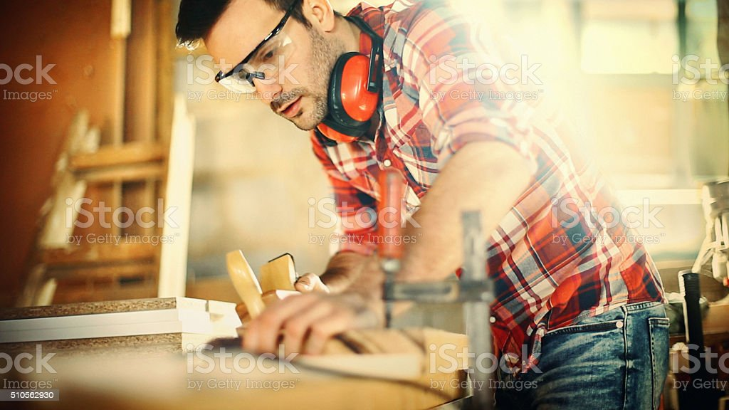 Carpentry workshop. stock photo