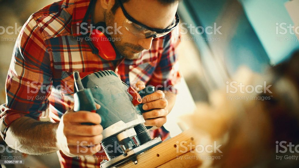 Carpentry workshop routine. stock photo