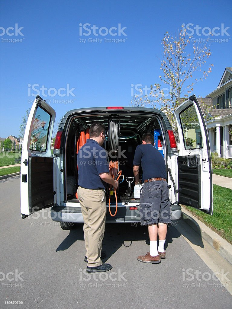 Carpet Cleaning Commercial Workers stock photo