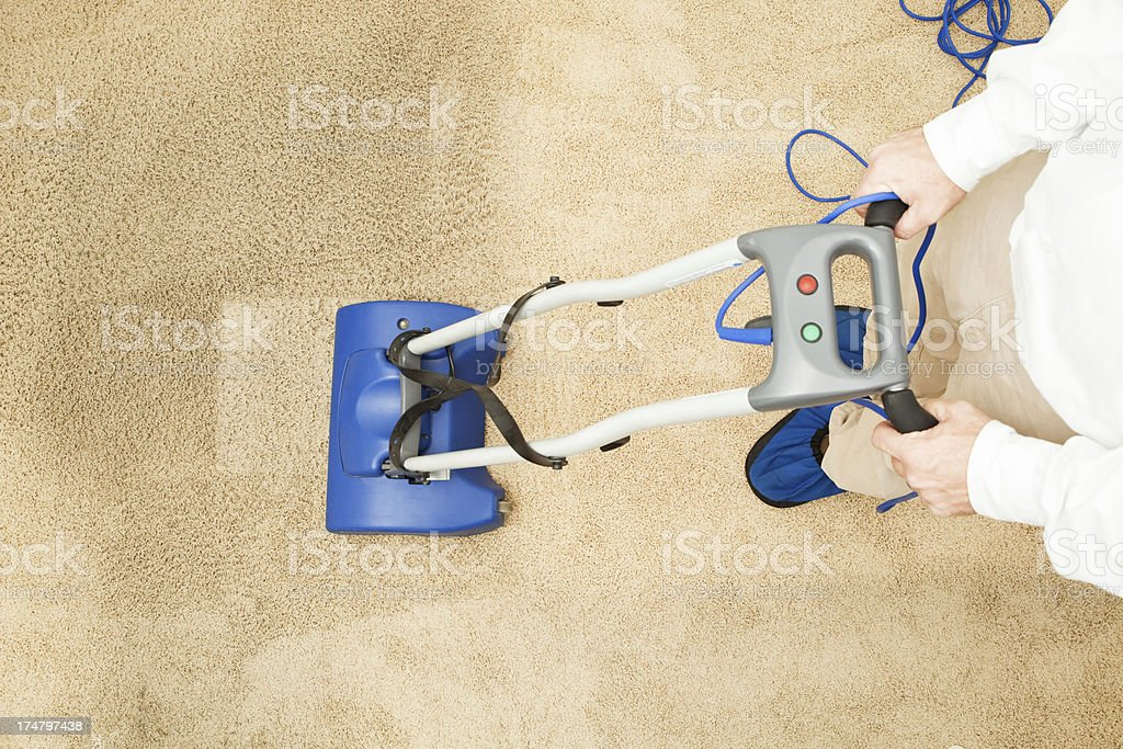 Carpet Cleaning with Brush Encapsulation Machine stock photo