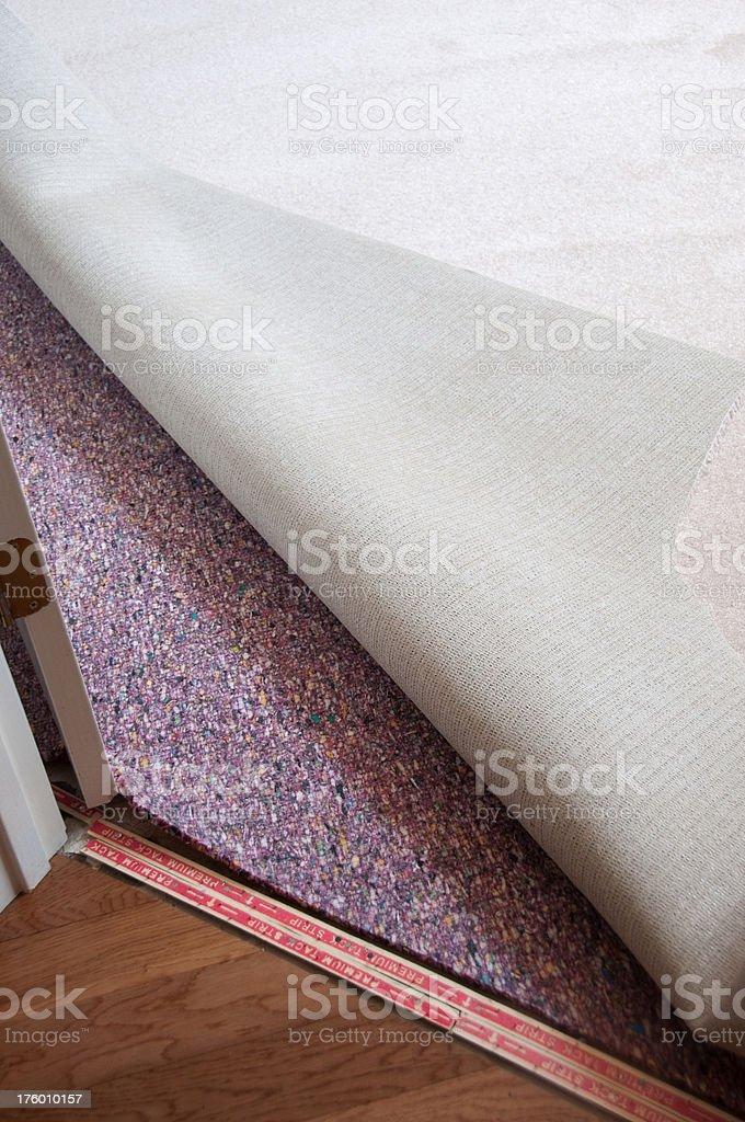 Carpet installation stock photo