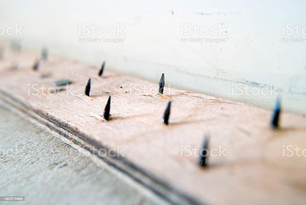 carpet installation preparation - smooth edge stock photo