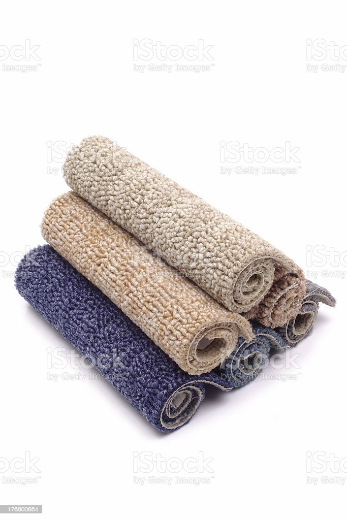Carpet rolls colored stock photo