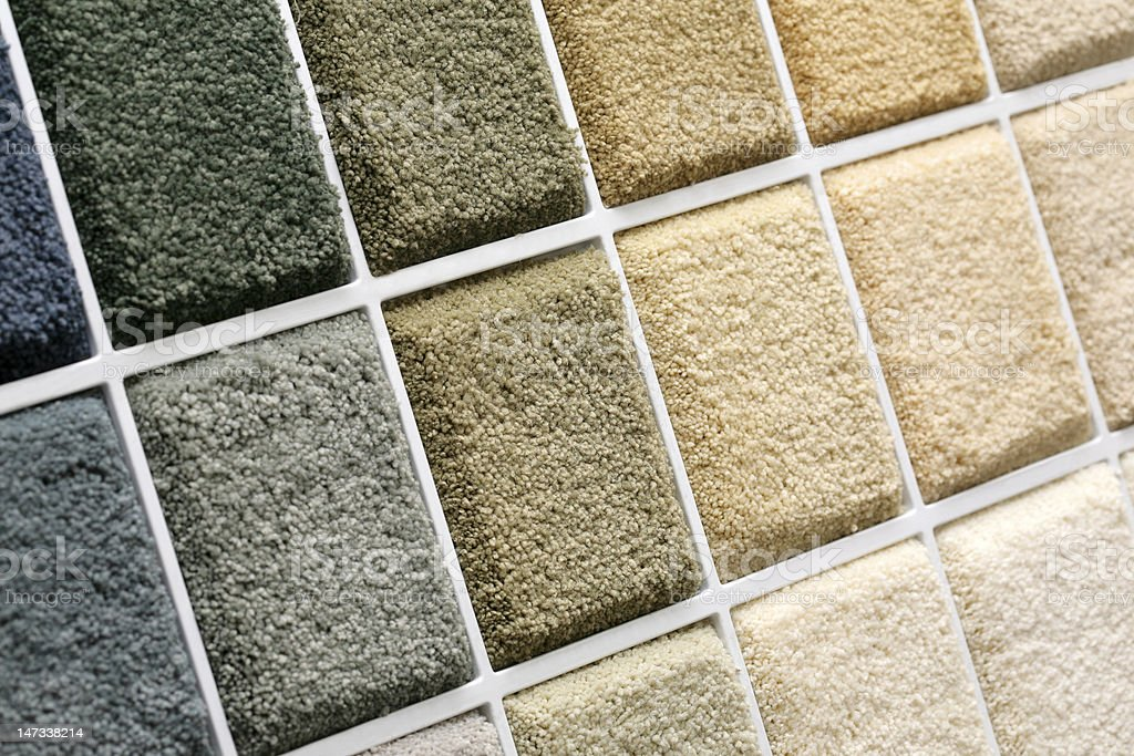 Carpet samples in multiple colors stock photo
