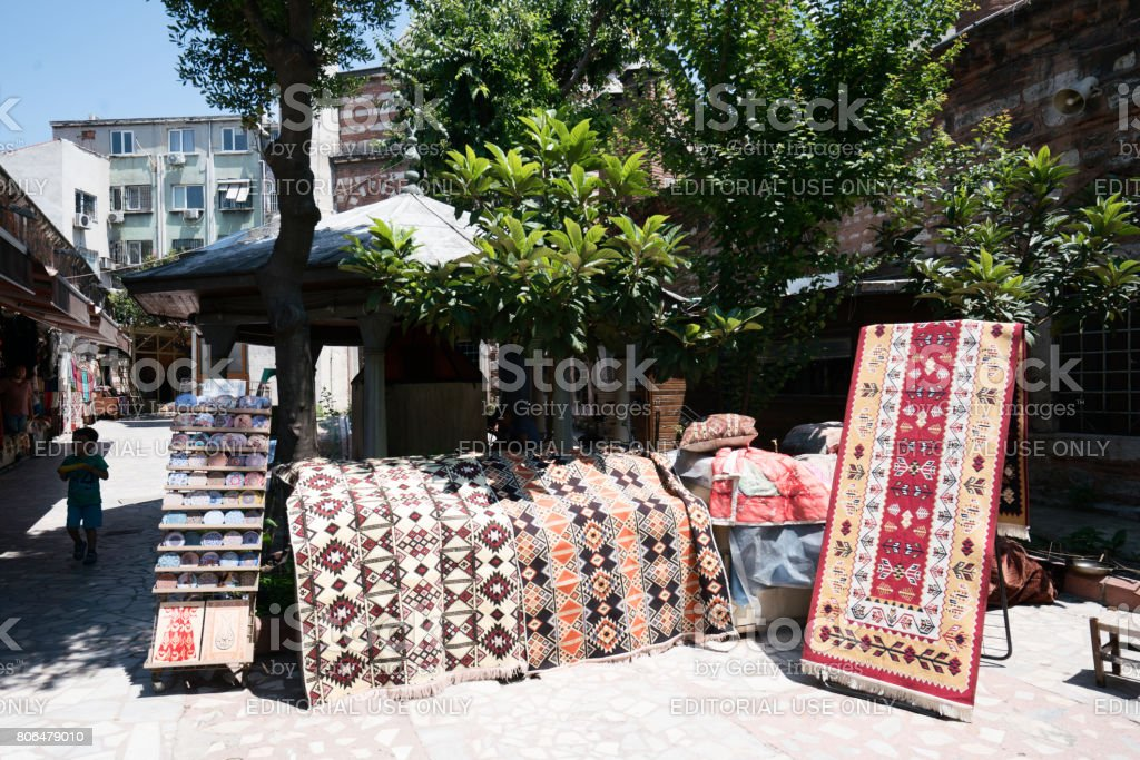 Carpet shop in İstanbul stock photo