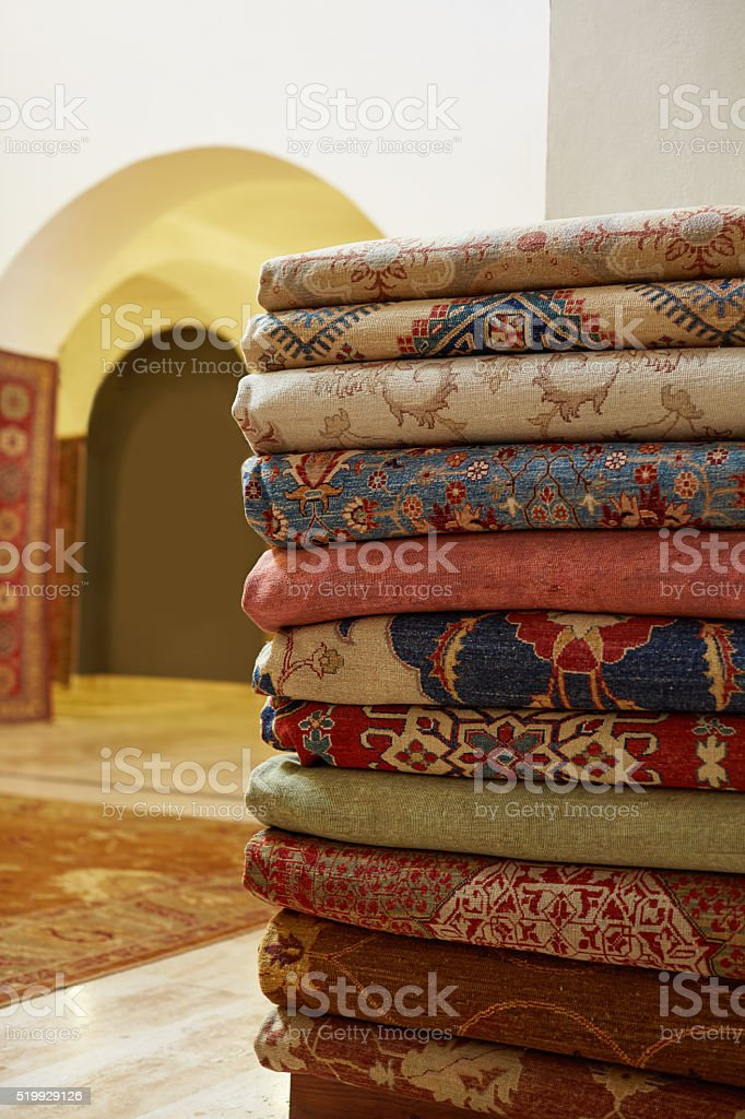 Carpets at Bazaar stock photo